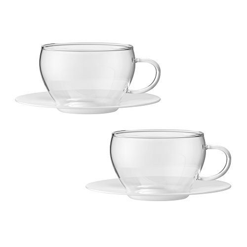Bohemia Cristal 093012097Play of Colors Set of 2Coffee/Espresso Cups Made of Borosilicate Glass with Bottom Plate Plastic Tumbler, Glass, White, 100x 100x 6cm 2Units