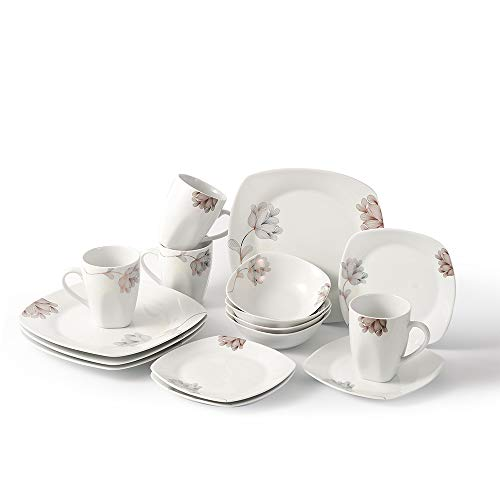P&T Royal Porcelain Silver Flowers Square 16-Piece Dinnerware Set Service for 4 White