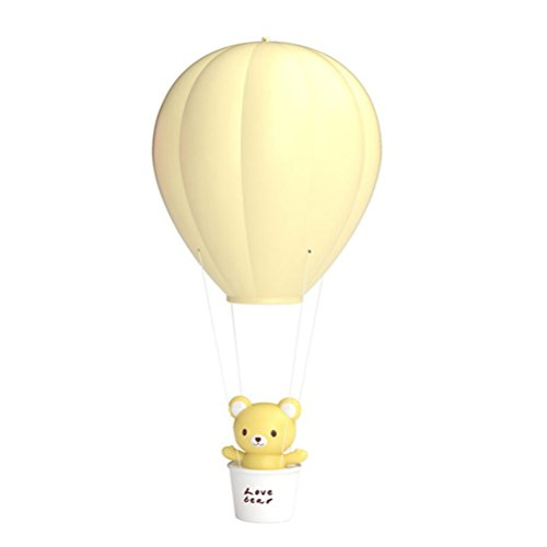 Children Dimmable Hot Air Balloon LED Night Light, LEDMOMO Remote Control Children Baby Nursery Lamp USB Rechargeable Wall Lamp For Kids Bedroom (Yellow)