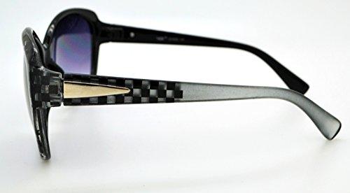 soleil Lens étui Silver Mode femme Checkered Frame classique tendance Smoke de pour Vox gratuit microfibre Hot Lunettes W haute qualité w1vABcqxH