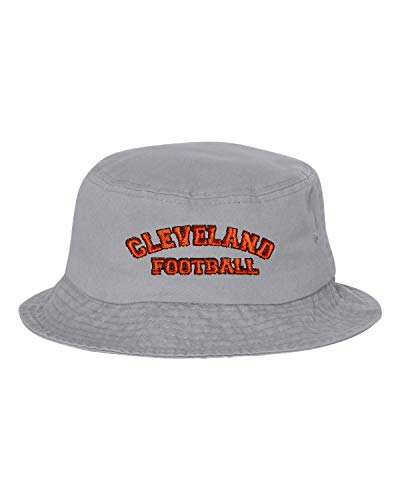 Go All Out One Size Gray Adult Cleveland Football Embroidered Bucket Cap Dad ()