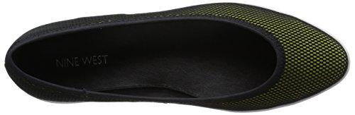 Nine West Luvintrist Fabric Ballet Flat Black-yellow/Black cG4iX