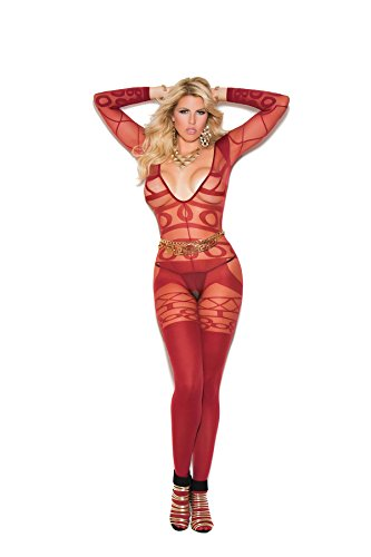 Opaque Long Sleeve - Hot Spot Plus Size Women's Long Sleeve Sheer and Opaque Crotchless Bbodystocking