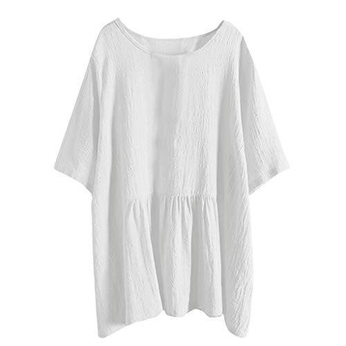 NCCIYAZ Shirt Tunic Womens Linen Solid Batwing Short Sleeve Plus Size Long Blouse Tops(M(6),White)