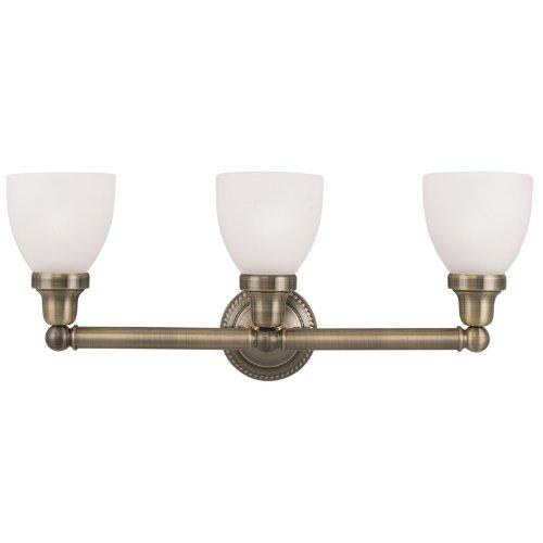Livex Lighting 1023-01 Classic 3-Light Bath Light, Antique Brass (Antique Brass Bathroom Light Fixtures)
