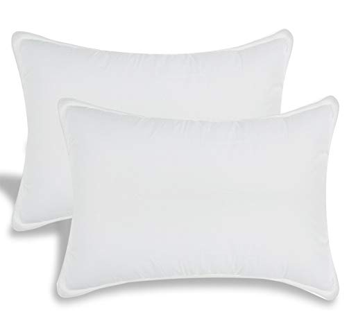 White Classic Down-Alternative Soft Bed Pillows for Sleeping - 100% Cotton Pillow Cover - Hypoallergenic Dust Mite Resistant - No Flattening - King Size - 2-Pack