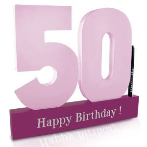Female Girl Happy 50th Birthday Pink Signature Write On Numbers Sign