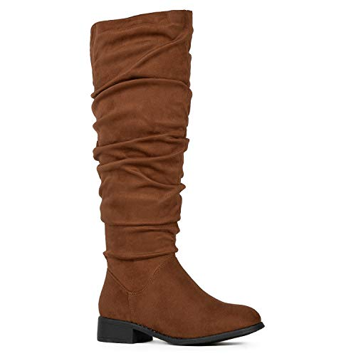 Women's Slouchy Pull On Low Block Heel Knee High Boots (Medium Calf) Walnut SU (8.5)