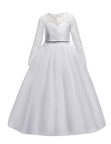 DOCHEER Fancy Girls Dress Tulle Lace Wedding Bridesmaid Ball Gown Floor Length Dresses for 4-14 Years (1023 White, 9-10 Years) -