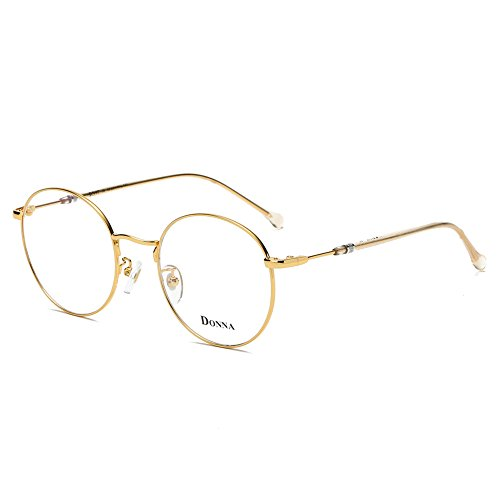 Gold Hipster - DONNA Stylish Clear Lens Women Glasses Samll Circle Round Frame Blue Light Blocking for Computer DN47-JB