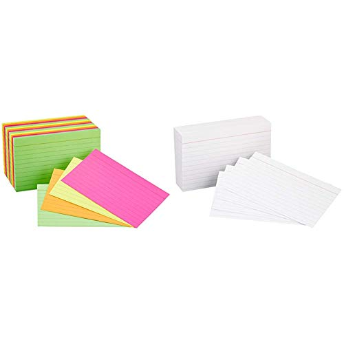 AmazonBasics Ruled Index Cards, Assorted Neon, 3x5-Inch, 300-Count & Heavy  Weight Ruled Index Cards, White, 3x5-Inch, 100-Count