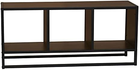 Household Essentials Rectangular Coffee Table with Storage Cubes 42.7 W x 13.8 D x 19.1 H Walnut, Brown