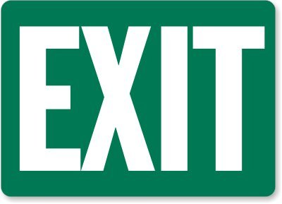 """Exit (white on green) Sign, 14"""" x 10"""""""