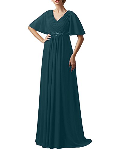 Pretygirl Women's V-Neck Chiffon Beaded The Bride of Mother Dress A-line Evening Gown(US 16, Teal)