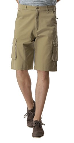 MIERSPORTS Mens Cargo Shorts Loose Fit, 6 Pockets, Knee-Length, Khaki, L