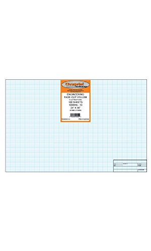 Clearprint 1000H Design Vellum Sheets with Architect Title Block and Printed Fade-Out 10x10 Grid, 100% Cotton, 24 x 36 Inches, 100 Sheets (100 Block Grid)