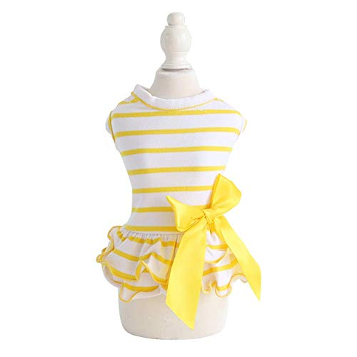 (Hdwk&Hped Small Dog Dress Puppy Cat Skirt Pet Spring Clothes 3 Styles #1-#5 (#2, Striped Style - Yellow))