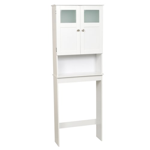Zenna Home Over The Toilet Bathroom Spacesaver, Bathroom Storage with Glass Windows, White