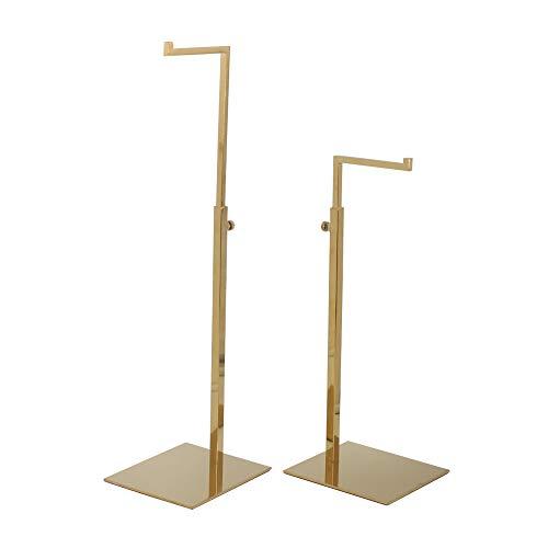 2 Pack Polished Gold Hanging Bag Handbag Rack Display Stand, Counter Purses Single Hook Adjustable Height Display Stand Rack by YIFU DISPLAY