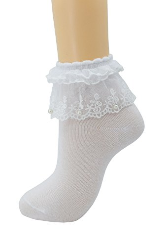 Women Lace Ruffle Frilly Ankle Socks Fashion Ladies Girl Princess H06 (White-1 pairs)