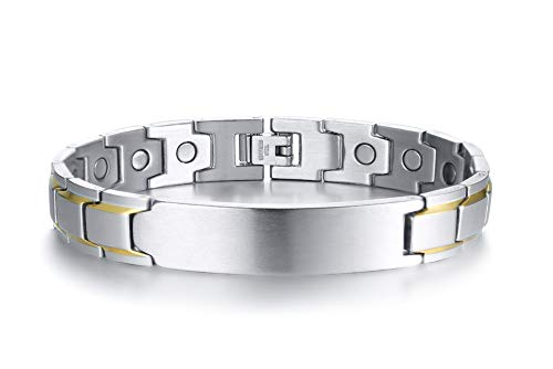 Two-Tone Stainless Steel Powerful Magnetic Therapy Bracelet for Arthritis Wristband Adjustable (Tone Bracelet Band)