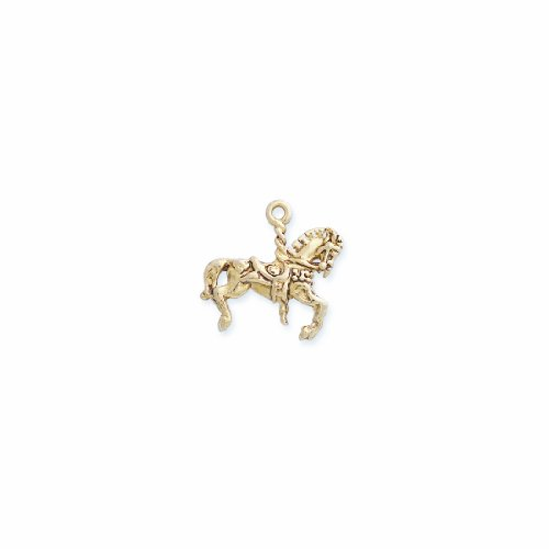 Shipwreck Beads Pewter Carousel Horse Charm, Antique Gold, 23 by 24mm, 2-Piece