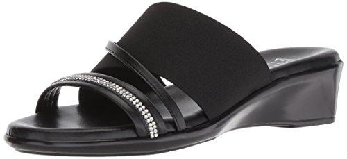 ITALIAN Shoemakers Women's Sassy Slide Sandal, Black, 6.5 Medium US