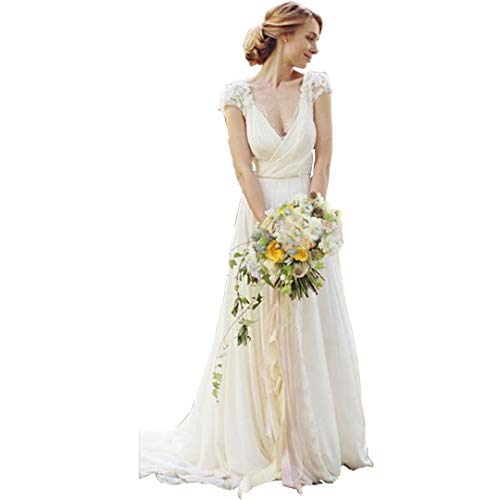 DingDingMail Deep V-Neck Lace Wedding Dresses Keyhole Back Wedding Dresses Cap Sleeves Chiffon Bridal Gowns Ivory (Lace Cap Sleeve Wedding Dress Keyhole Back)