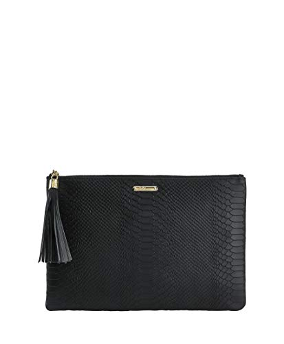GiGi New York Women's Uber Embossed Python Clutch Black ()