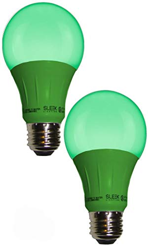 Sleeklighting LED A19 Green Light Bulb, 120 Volt - 3-Watt Energy Saving - Medium Base - UL-Listed LED Bulb - Lasts More Than 20,000 Hours 2pack