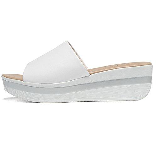Btrada Women Casual Platforms Wedges Outdoor Slope Shoes Soft soled Anti-Slip Sandals White ksD5G5srN6
