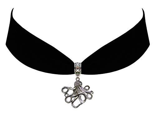 Victorian Vault Octopus Black Velvet Choker Steampunk Jewelry Gothic Necklace]()