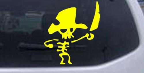 Yellow 8in X 7.1in -- Cute Funny Pirate Skeleton Skulls Car Window Wall Laptop Decal Sticker