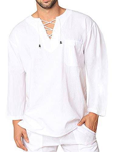 COOFANDY Mens Fashion T Shirt Cotton Tee Hippie Shirts V-Neck Long Sleeve Yoga Top for Men,White,X-Large