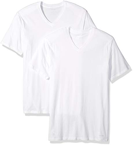 Calvin Klein Men's Size Big and Tall Cotton Classics 2 Pack V Neck Tshirts, White, - Pack Mens Cotton 2
