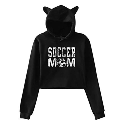 Soccer MOM,Cat Ear Hoodie Sweatshirts,Midriff-Baring Hoody Sweater Womens Sexy Stylish Hoodie Sweater Girls Cute Hoodies