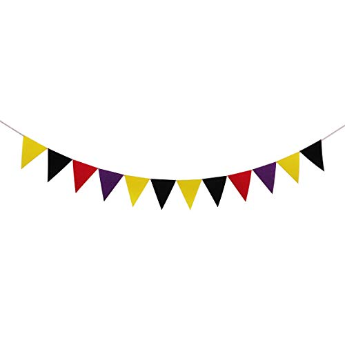 Halloween Home Party Decorations Multi Color Pennant Banner Flags Black Yellow Purple Red -