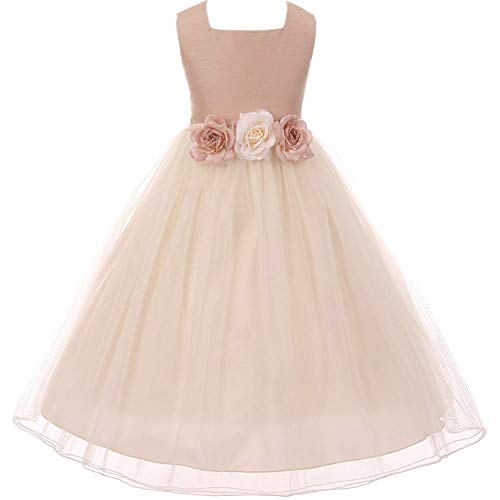 Big Girls Poly Dupioni Silk Flower Girl Dress 8 Dusty Rose