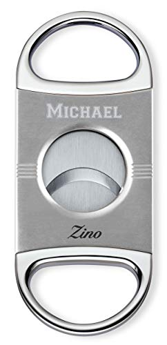 - Personalized Zino Z2 Double Blade Cigar Cutter with Free Engraving (Silver)