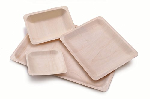 "Disposable Wood Plates 7.5"" x 5.5"" – 50Pk. Natural Eco-Friendly Alternative to Plastic and Styrofoam that is Compostable and Biodegradable. Great for Parties, Weddings, Entertaining & Catering"