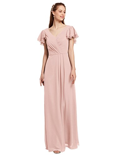 Dresses Modest Bridal (AW Chiffon Long Bridesmaid Dresses with Sleeves V Neck Formal Dresses for Women Evening Gown, Pearl Pink, US14)