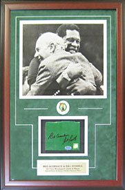 Bill Russell & Red Auerbach Signed Framed Floor Piece w/ 11x14 Photo - Bill Russell Signed Photograph