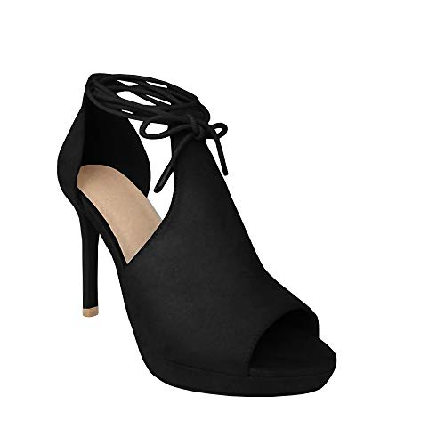 Runcati Womens Peep Toe Thin High Heels Pumps Suede Strappy Ankle Wrap Platform Stiletto Sandals Black