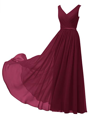 - Alicepub V-Neck Chiffon Bridesmaid Dress Long Party Prom Evening Dress Sleeveless, Jester Red, US12