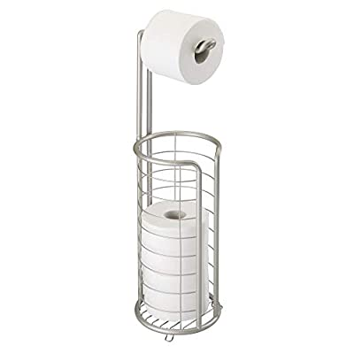 mDesign Modern Metal Freestanding Toilet Paper Roll Holder Stand and Dispenser with Storage for 3 Rolls of Reserve Toilet Tissue - for Bathroom Storage Organizing - Holds Mega Rolls