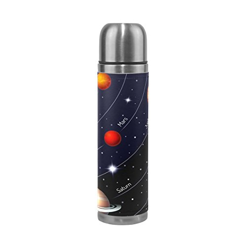 LORVIES Educational Colorful Solar System Stainless Steel Thermos Water Bottle Vacuum Insulated Cup Leak Proof Double Vacuum Bottle, PU Leather Travel Thermal Mug,17 oz by LORVIES
