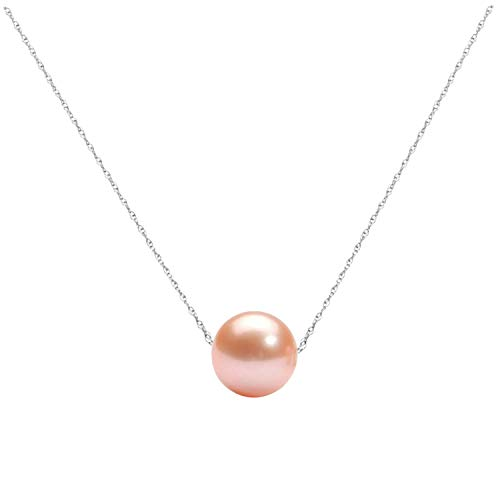 14K Gold 10-11mm Freshwater Cultured Floating Pearl Tin Cup Chain Necklace Jewelry for Women 17