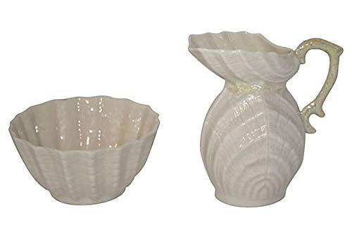 Vintage Belleek Creamer and Sugar Bowl - Double Shell Pattern - Irish Fine China