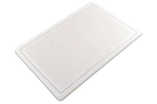 Commercial Plastic Carving Board with Groove, NSF Certified, HDPE Poly (18 x 12 x 0.5 Inch, White) by Thirteen Chefs