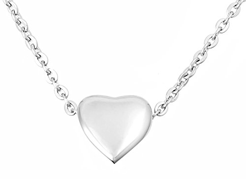 Zoey Jewelry Floating Small Heart Cremation Urn Pendant Ashes Memorial Necklace (Silver Tone) -